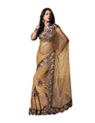 Anvi Creations Yellow Net Georgette Heavy Embroidered Saree (Yellow_Free Size)
