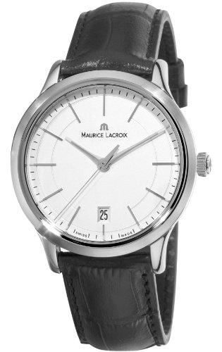 Maurice Lacroix Men's LC1117-SS001130 Les Classiques Quartz Silver Dial Black Leather Strap Watch