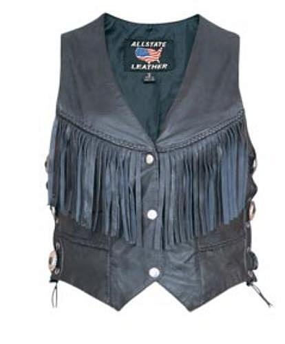 Ladies Drum Dyed Naked Leather Vest w/ Braids & Fringe on Front and Back, Side Laces w/ Conchos