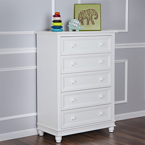 Dream On Me Mia Moda Parkland 5 Drawer Dresser, White