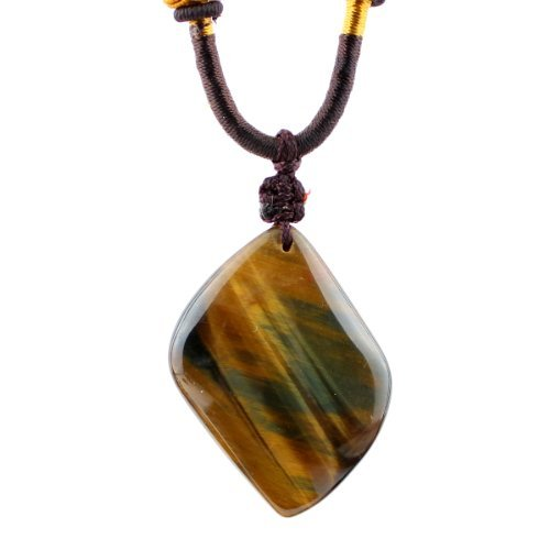 O-stone Natural Blue Yellow Tiger Eye Lucky Draw Random Shape Pendant Necklace