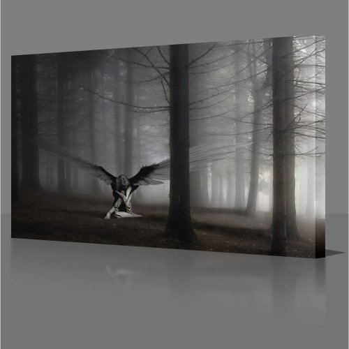 FANTASY: Angel In Forest 51x26 Gallery Framed Canvas Art Poster Print Modern Art Decor NEW Ready To Hang On Your Wall.