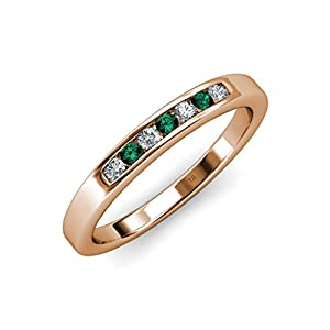 Emerald and Diamond (SI2-I1, G-H) 7 Stone Wedding Band 0.37 ct tw in 14K Rose Gold.size 9