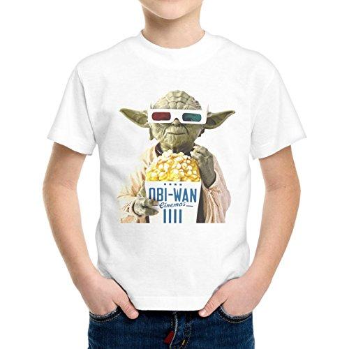 T-Shirt Bambino Ragazzo Star Wars Yoda Pop Corn Cinema -
