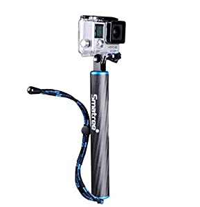 Smatree SmaPole F1 Floating Hand Grip / Gopro Pole / Bobber (Aluminum & Carbon-fibre Materials) integrated with aluminium alloy Tripod Mount and Nut + One Black Screw for GoPro Hero 4, 3+, 3, 2, 1 and SJ4000, SJ5000 Cameras and Comcorders