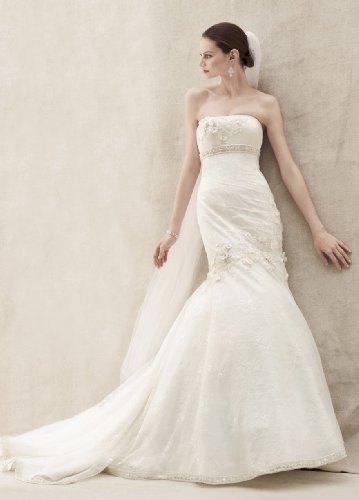Oleg Cassini Wedding Dress Lace Fit and Flare Gown with Floral Details