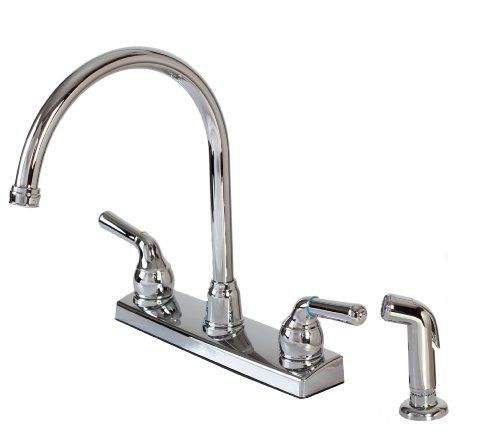 Hardware House 122009 2-Handle Non-Metallic Kitchen Faucet with External Matching Spray, Chrome