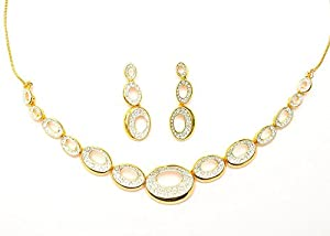 Margarita Imperial Designer Beauty Necklace with Designer Earrings in Austrian Crystal Diamonds with Gold Plated for Women