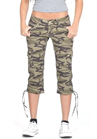 Dolce & Rosa Women's Camouflage Long Combat Stretch Cargo Shorts - Army Green (US 2 / UK4)
