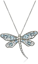 Sterling Silver and Colored Crystal Dragonfly Pendant Necklace, 18""