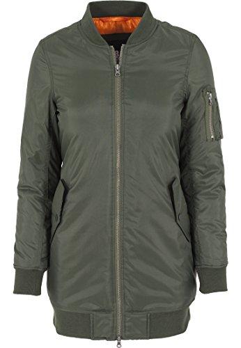 Urban Classics - Jacke Long Bomber Jacket, Giacca Donna, Verde (Olive), Medium (Taglia Produttore: Medium)