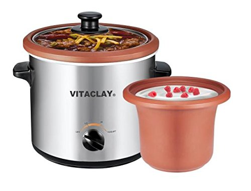 VitaClay VS7600-2C 2-in-1 Yogurt Maker and Personal Slow Cooker in Clay, Stainless Steel (Yogurt Strainer Glass compare prices)