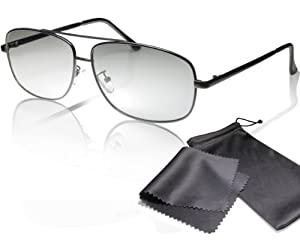 """3D Movie Glasses black Aviator Style high quality - for RealD cinema use and passive 3D TVs such as LG """"Cinema 3D"""" and Philips """"Easy 3D""""- circularly polarized - with pouch and cleaning cloth"""