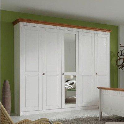 Forestdream 80250135 Luigi Pine massiv bernsteinfarben Kleiderschrank, 5-teilig, weiß lasiert