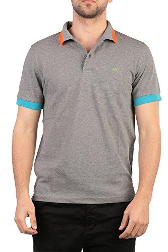 SUN68 Uomo Polo Maglia T-Shirt Primavera Estate Grigio Art 16113 34 P16