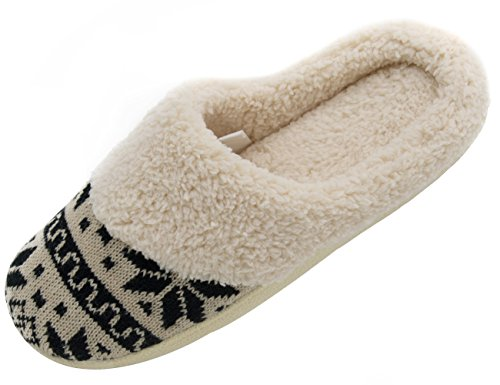 HomeTop Women's Faux Cashmere Knitted & Plush Fleece Lined Slip-On Memory Foam Clog Slippers Indoor/Outdoor (Large / 9-10 B(M) US, Black & Beige)