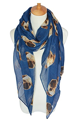GERINLY Animal Scarves: Cute Pugs Print Voile Oblong Scarf (Blue)
