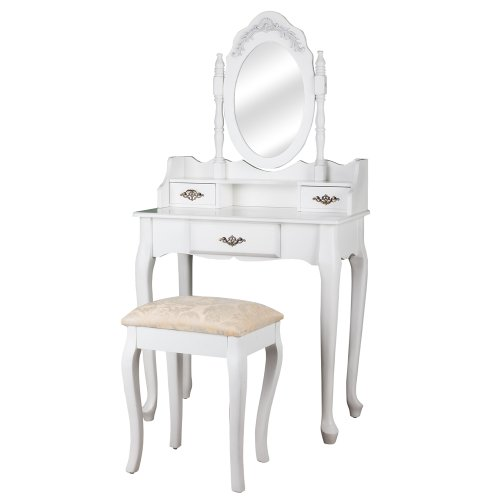 Dressing table with mirror bedroom desk with stool white makeup dressing up table genuine wood