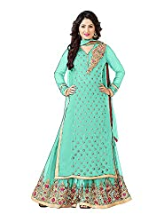 VIHA SeaGreen Georgette Unstitched Plazzo Dress Material