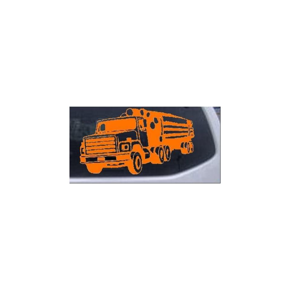 Logging Truck Business Car Window Wall Laptop Decal Sticker    Orange 26in X 15.0in