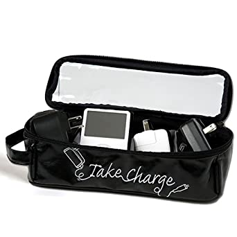 Miamica Electronics and Charger Organizer Large Take Charge, Black, One Size