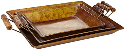 Creative Co-Op Decorative Metal Trays with Copper Finish (Set of 3)