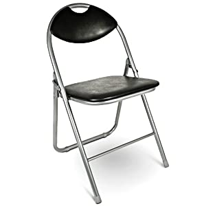 Metal Folding Chair Guest Chair With Cushion Black Kitchen Am