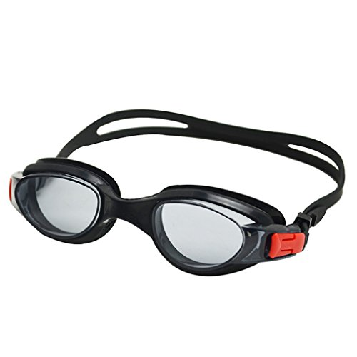 Little Cherry Non Leaking Swim Goggle With Crystal Clear Vision,Pro Performance Unisex Adult Swim Goggle with Case (Black)