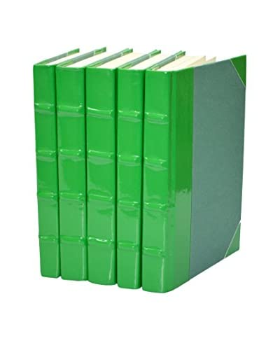 Set of 5 Patent Leather Books, Green