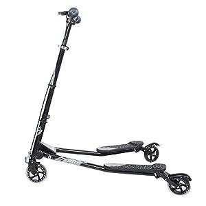 3 Wheels Kids Speeder Slider Swinged Scooter Tri Motion Flicker Drifter (Black, Medium)