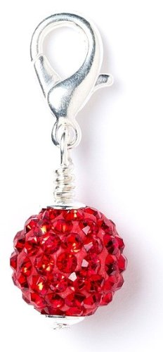 Shamballa Crystal Ball Clip on Charm Red SPC015