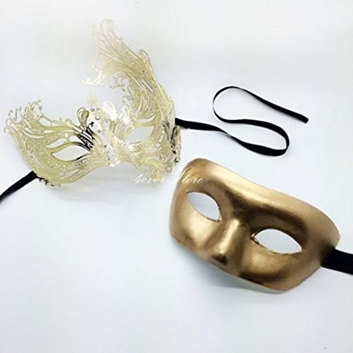 His & Hers Couples Collection Phantom Masquerade Mask Set [Gold Themed]
