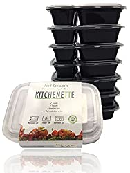 Kitchenette® Food Container, Reusable Plastic Material, 33 Oz with 2 Compartments, Set of 8 Disposable Containers, Black with Clear Lid