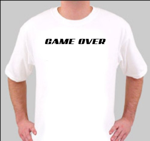 TS1408 SMALL GAME OVER RUDE FUNNY QUALITY RETRO RUDE T SHIRT