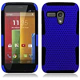 Aimo Wireless Progressive Hybrid Gummy Mesh Defense Case for Motorola Moto G - Retail Packaging - Black/Blue