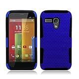 Aimo Wireless Progressive Hybrid Gummy Mesh Defense Case for Motorola Moto G - Retail Packaging - Black/Blue