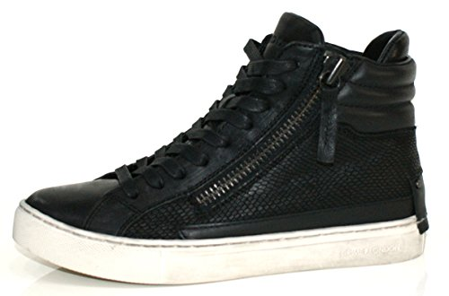 Crime London Stivaletto Donna Sneaker Alta Leather 2 Zip Black_39