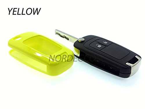 Custodia rigida ABS di alta qualità Key Fob Protector Cover Opel Vauxhall Astra Insignia Sri mervia Mokka Adam VXR Zafira Corsa e 2016(giallo)