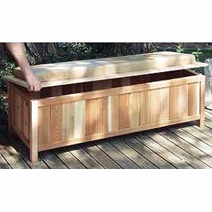 Cedar Storage Bench Outdoor Ready With Cushion Cedar W Natural Cushion Long