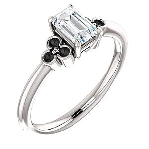 18K White Gold Emerald Cut White and Black Diamond Engagement Ring