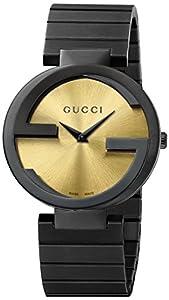 Gucci Women's YA133314 Gucci Interlocking Collection Analog Display Swiss Quartz Black Watch