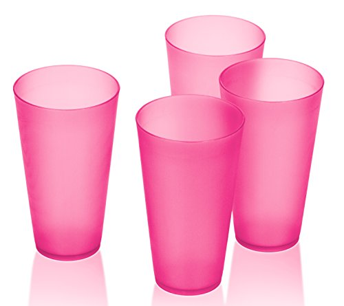 4 Pack of Bright Plastic Cups - 16 Oz Reusable Tumbler Cups - Picnic Party Cups (Pink) (Plastic Cups Microwave Safe compare prices)