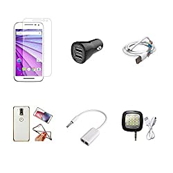 High Quality Combo of Moto G3 Temper Glass + Car Charger 2 USB + USB Data Cable + Attractive Back Cover (Transparent Back with Golden Border) + Audio Splitter Cable