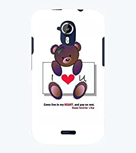 Printvisa Teddybear Love Quote Back Case Cover for Micromax Canvas Magnus A117