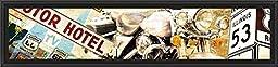 38in x 14in Route 66 - Black Floater Framed Canvas w/ BRUSHSTROKES