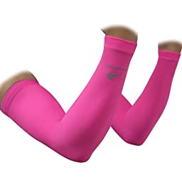 Arm Sleeves (1 Pair/ Pink - S) Compression - Men, Women & Youth Basketball Shooter Sleeve - Best Protection for Lymphedema - Elbow Warmers for Football, Baseball, Running, Volleyball & Athletic Sports