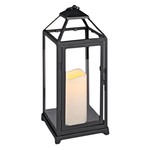 Everlasting Glow Open Roof Metal Lantern with Plexiglass and LED Candle Gerson B005HINTYE