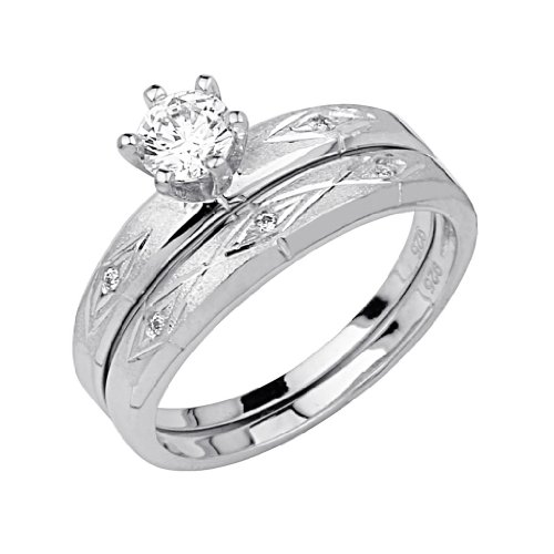 925-Sterling-Silver-Rhodium-Plated-Wedding-Engagement-Ring-and-Matching-Band-2-Piece-Set