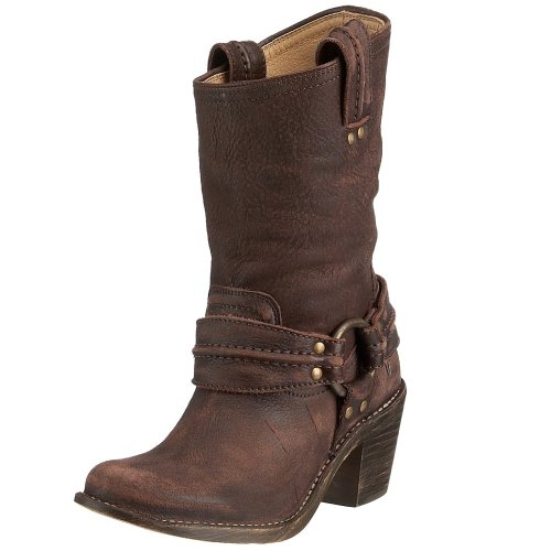 Frye Women's Carmen Harness Short Dark Brown Biker Boot 77376 7 UK, 9 US