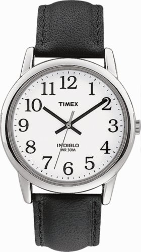 Timex Mens Watch with White Dial and Black Leather Strap - T20501PF